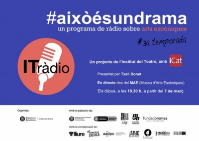 3a edició del programa de ràdio #aixòésundrama d'Icat.fm a la sala d'exposicions del MAE, Institut del Teatre, 2019