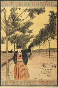 Cartell de Santiago Rusiñol per l'obra L'alegria que passa, 1898