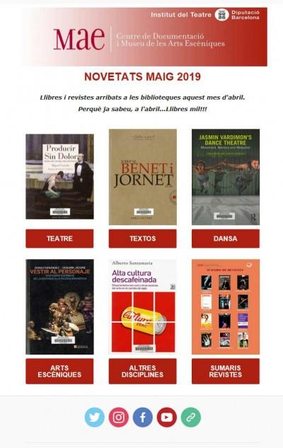 Butlletí de maig 2019 de les novetats bibliogràfiques i audivisual i sumaris de la revistes rebudes a les biblioteques del MAE aquest passat abril.