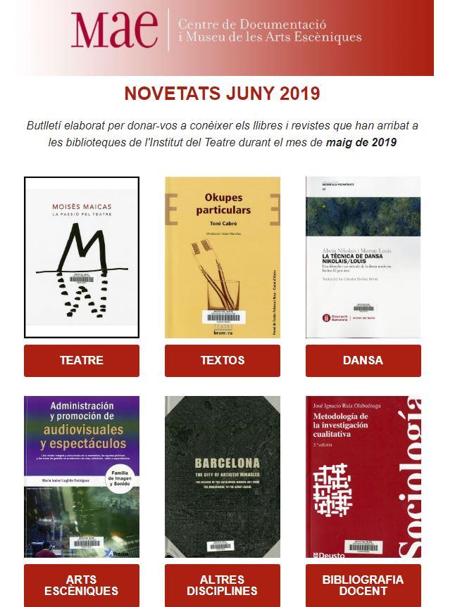 Butlletí de novetats a les biblioteques del MAE de juny 2019
