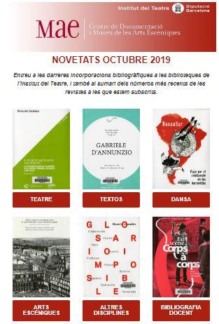 Butlletí de novetats bibliogràfiques i audiovisuals d'octubre de les biblioteques del MAE