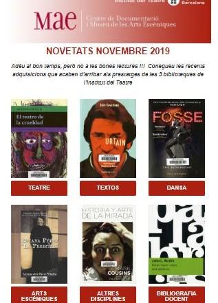 Butlletí de novetats bibliogràfiques i audiovisuals de novembre de les biblioteques del MAE