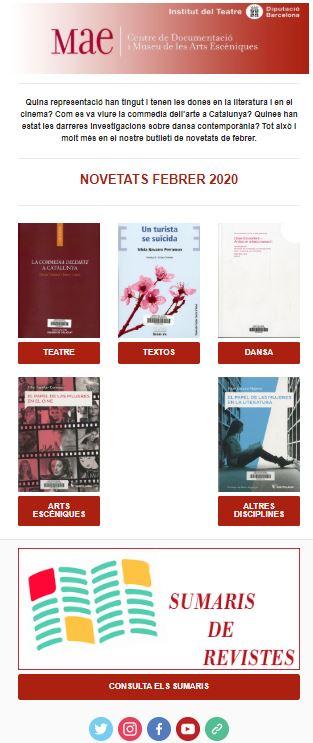Butlletí de novetats bibliogràfiques i audiovisuals del MAE, gener 2020