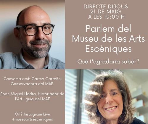 Parlem del Museu de les Arts Escèniques, 21 maig 2020, 19.h, Instagram