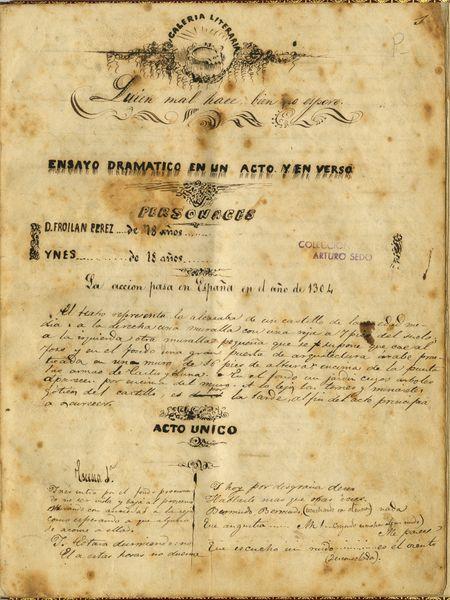 Quien mal hace bien no espere, de Benito Pérez Galdós de 1861. Manuscrit del MAE del Fons Sedó.