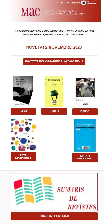 Butlletí de novetats bibliogràfiques i audiovisuals del MAE,, octubre 2020