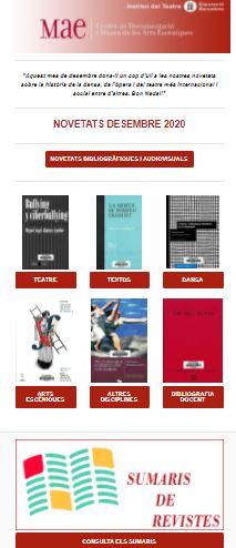 Butlletí de novetats bibliogràfiques i audiovisuals del MAE, desembre 2020