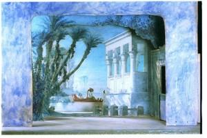 Teatrí de Francesc Soler i Rovirosa per a l'òpera Aïda, de Richard Wagner. Acte III, Teatre Principal de Barcelona, 16 abril 1876