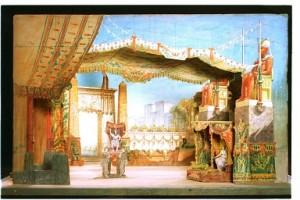 Teatrí de Francesc Soler i Rovirosa per a l'òpera Aïda, de Richard Wagner. Acte II, Teatre Principal de Barcelona, 16 abril 1876
