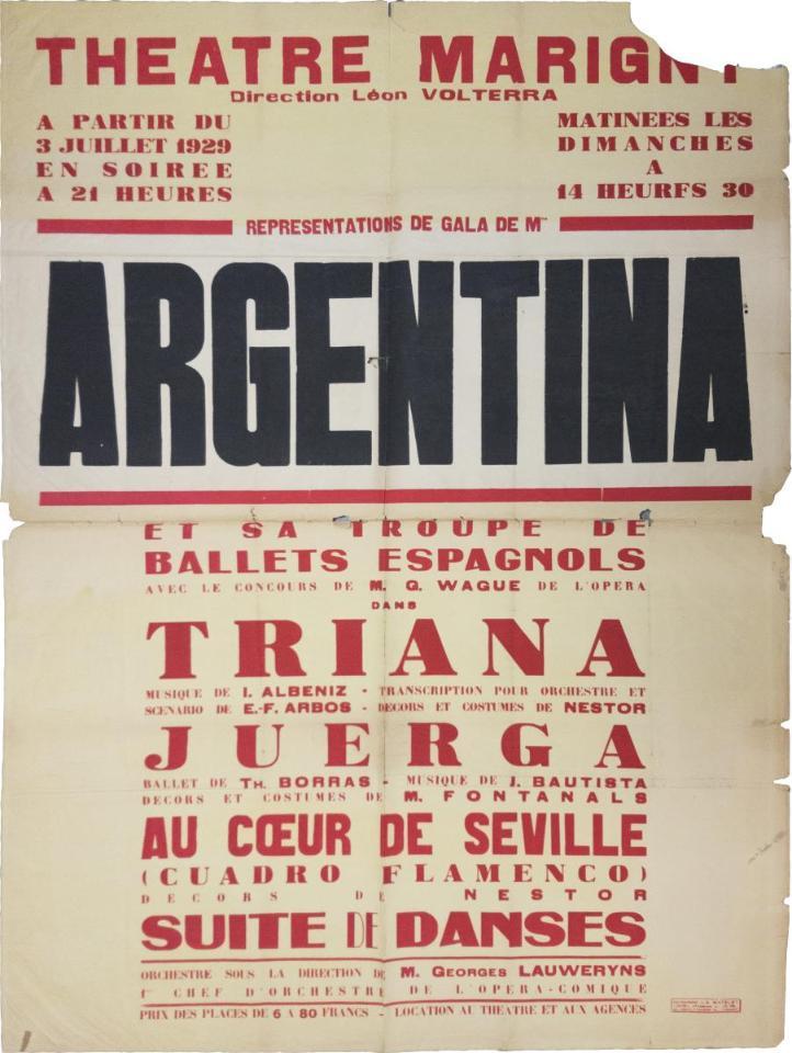 """Cartell actuació La Argentina al Théâtre Marigni de París, juliol 1929. Fons Antonia Mercé """"La Argentina"""" del MAE"""