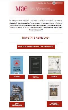 Butlletí de novetats bibliogràfiques i audiovisuals del MAE del mes d'abril 2021