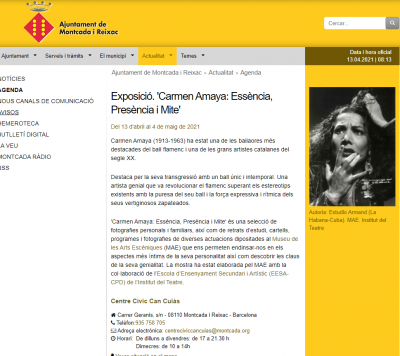 Exposició itinerant Carmen Amaya al Centre Cívic Can Cuiàs de Montcada i Reixat, del 13 d'abril al 4 de maig de 2021