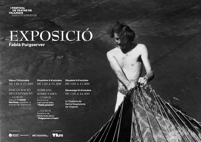 Cartell de l'exposició Fabià Puigserver al I Festival de Teatre Fabià Puigserver de Vilajoan, 7 al 10 d'octubre de 2021